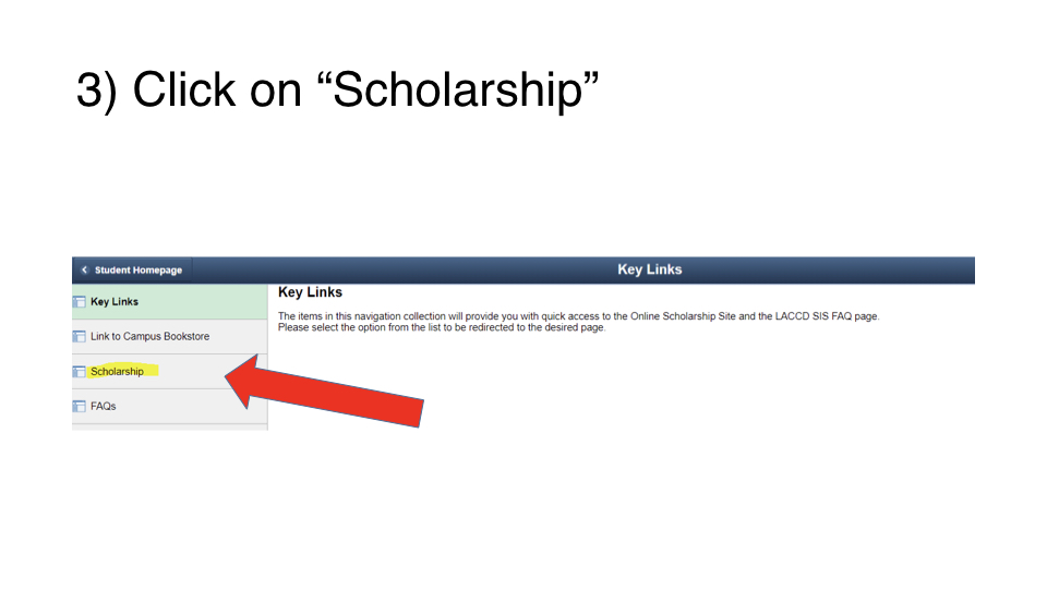 Click on 'Scholarships' from the left side