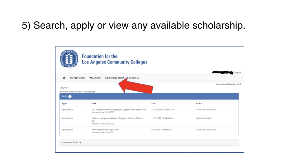Search for the Laptop scholarship and click 'Start Application'