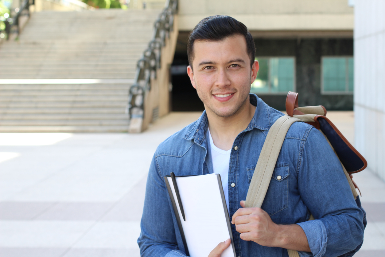 Male student with backpack