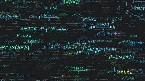 Math equations written on a blackboard.