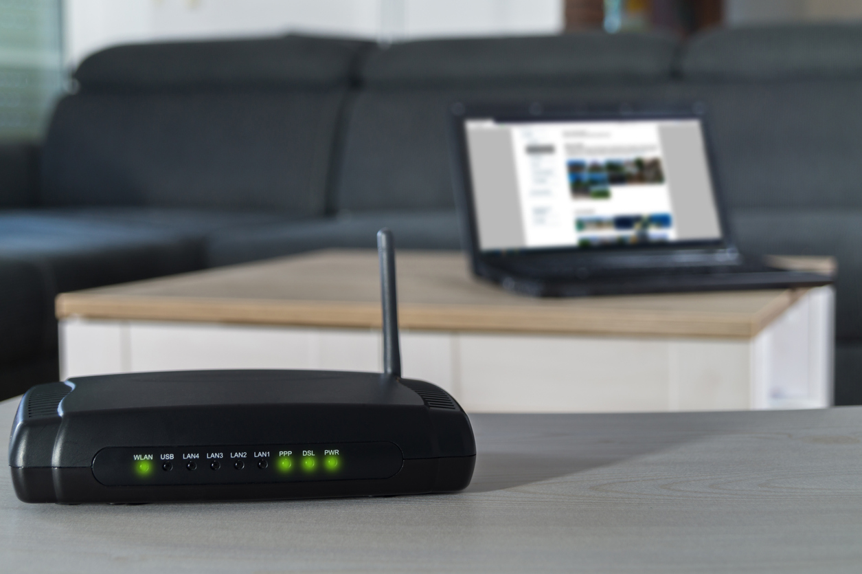 Internet router and laptop