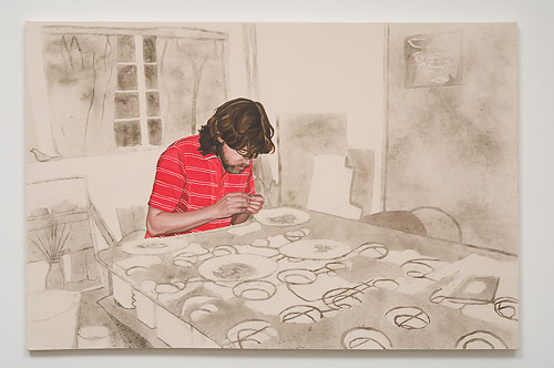Allison Cortson, Ry and his Dust, 2007, Oils, dust, glue and acrylic sealer on canvas, 46 x 72 inches