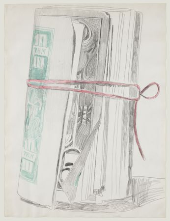 Andy Warhol. (American, 1928-1987). Roll of Bills. (1962). Pencil, crayon, and felt-tip pen on paper
