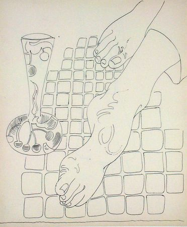 Andy Warhol. (American, 1928-1987). Untitled (Feet). c. 1958. Ballpoint pen on paper