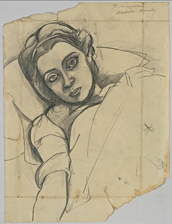 Arshile Gorky. (American, born Armenia. 1904-1948). Leonora Portnoff. (1935). Pencil on paper