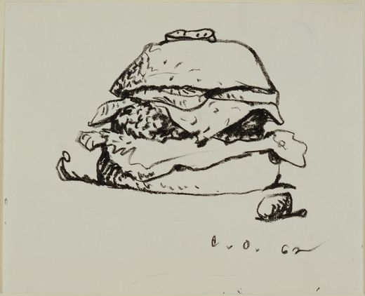 Claes Oldenburg. (American, born Sweden, 1929). Hamburger. 1962. Lithographic crayon on paper