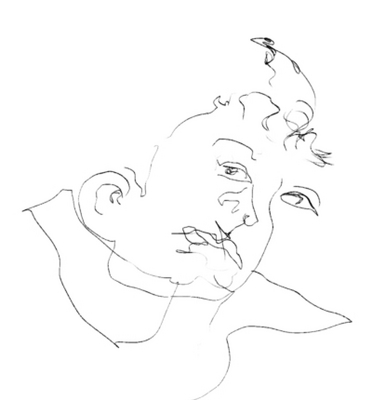 Blind contour drawing--Face