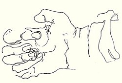 Blind contour drawing of artist's hand